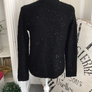 Sweaters - Black open cardigan with small black sequins